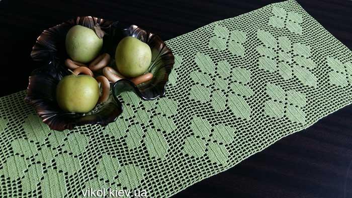 Прямоугольная вязаная салфетка крючком для кухни