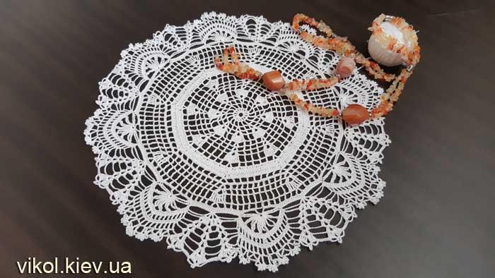 Вязаная круглая восьмиугольная салфетка крючком купить на заказ Киев