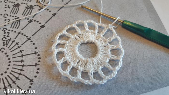 Начало вязания круглой салфетки крючком по схеме