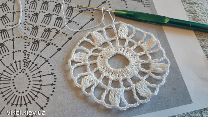 Вяжу салфетку для начинающих по схеме