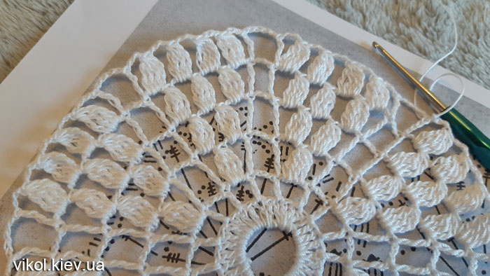 Вязание круглой салфетки крючком пошагово