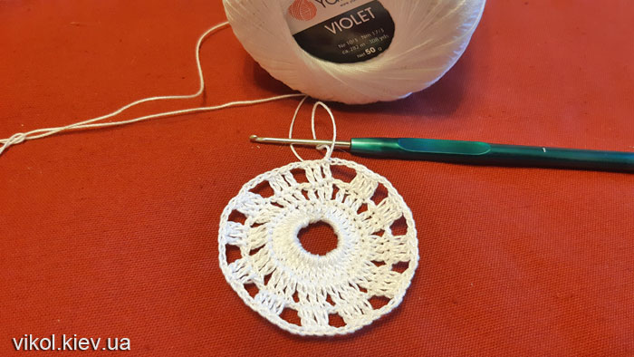 Начало вязания ажурной салфетки фото