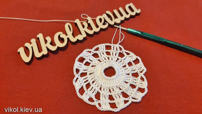 Ажурное вязание круглой салфетки