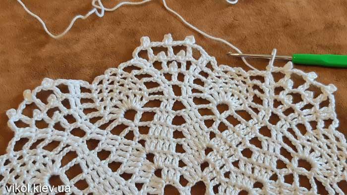 Вязание ажурной круглой салфетки по схеме