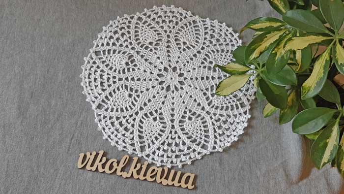 Вязание крючком круглой ажурной салфетки купить в Киеве