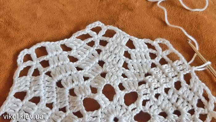 Ажурное вязание круглой салфетки по схеме