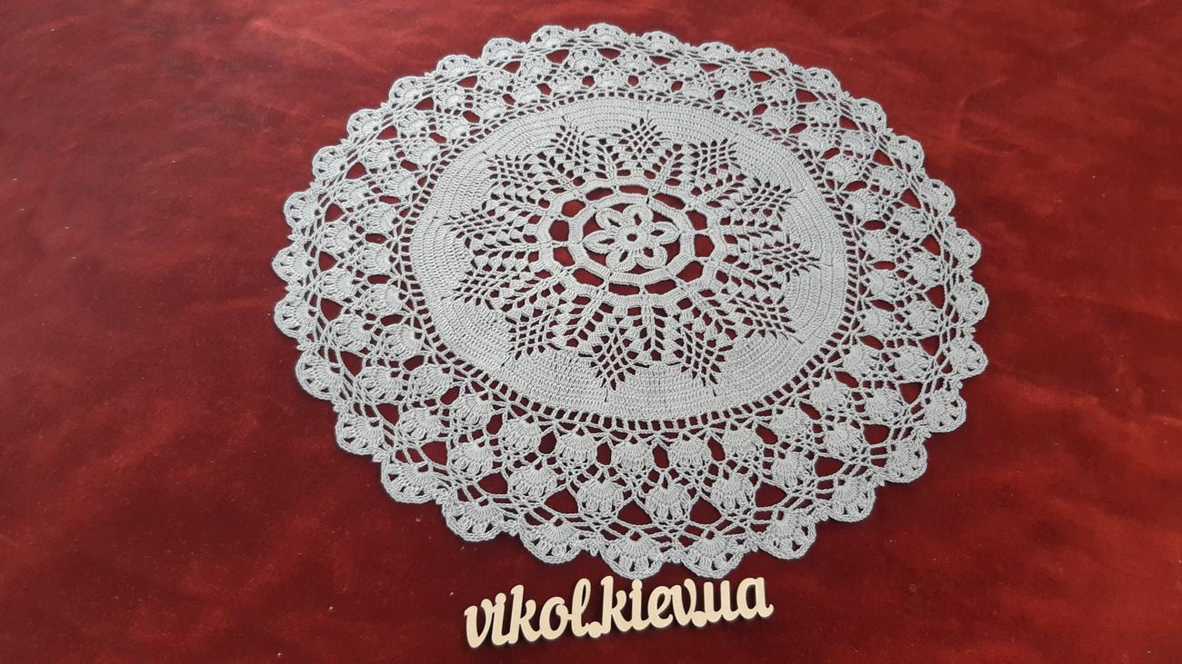 Круглая салфетка крючком «Бархатные кружева» купить на заказ в Киеве