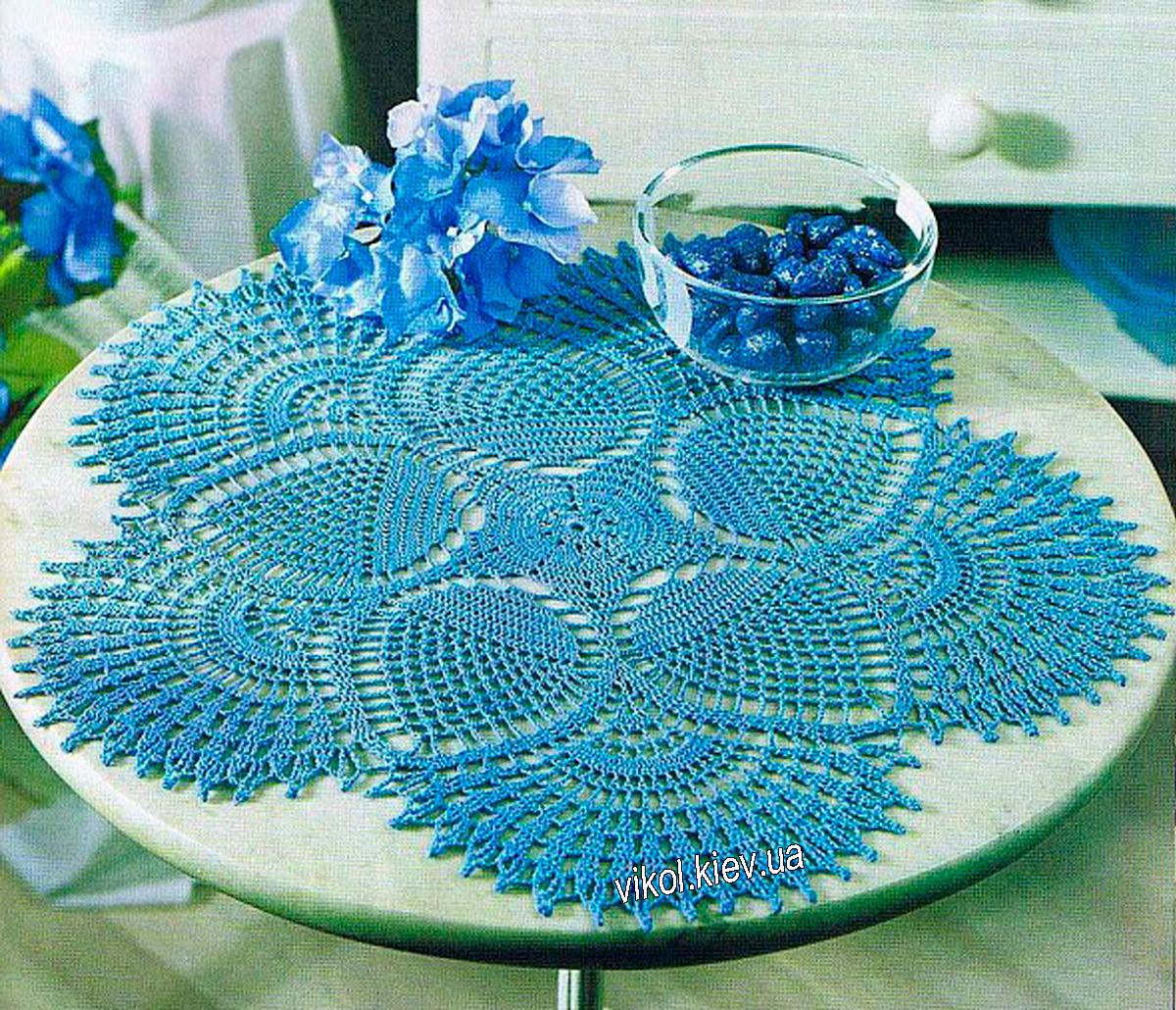 синяя салфетка крючком, круглые синие салфетки, вязание синих салфеток