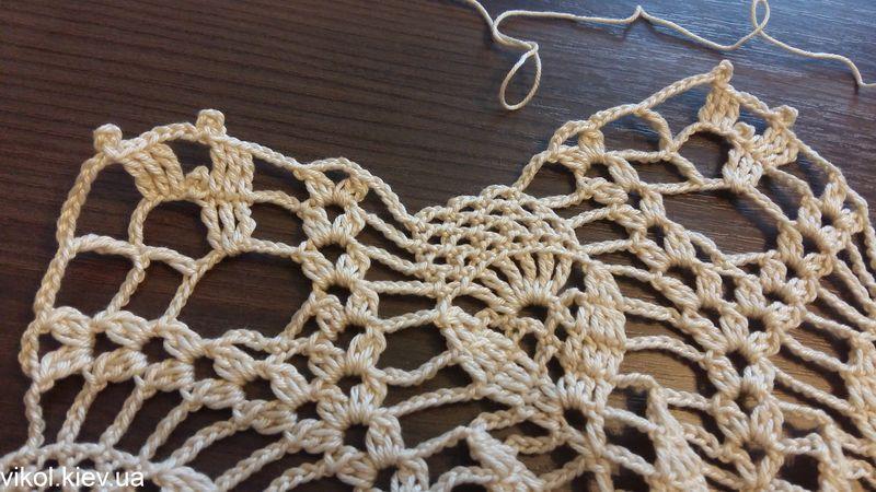 пошаговое вязание большой ажурной салфетки крючком
